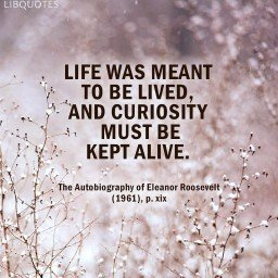 Life was meant to be lived, and curiosity must be kept alive.