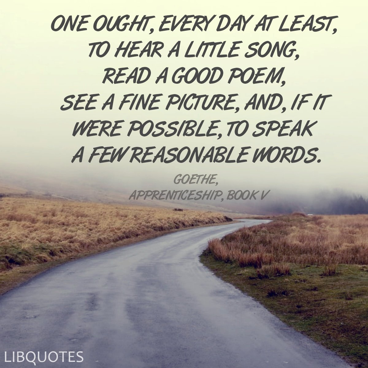 One ought, every day at least, to hear a little song, read a good poem, see a fine picture, and, if it were possible, to speak a few reasonable words.